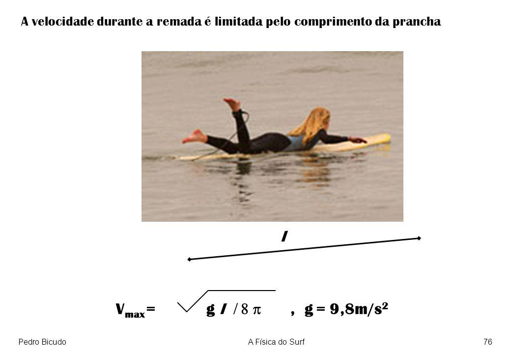 A velocidade durante a remada é limitada pelo comprimento da prancha