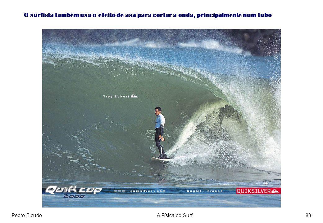 O surfista também usa o efeito de asa para cortar a onda, principalmente num tubo