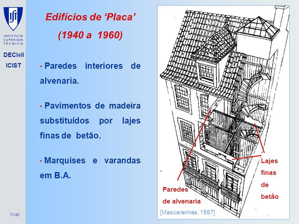 Edifícios de 'Placa' (1940 a 1960)
