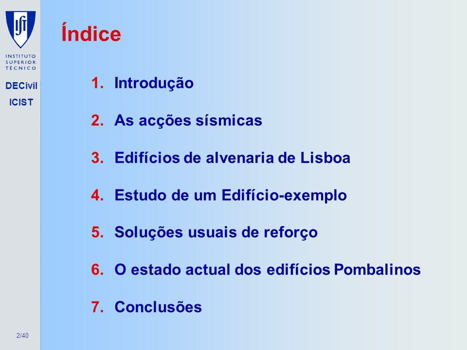 Índice Introdução As acções sísmicas Edifícios de alvenaria de Lisboa