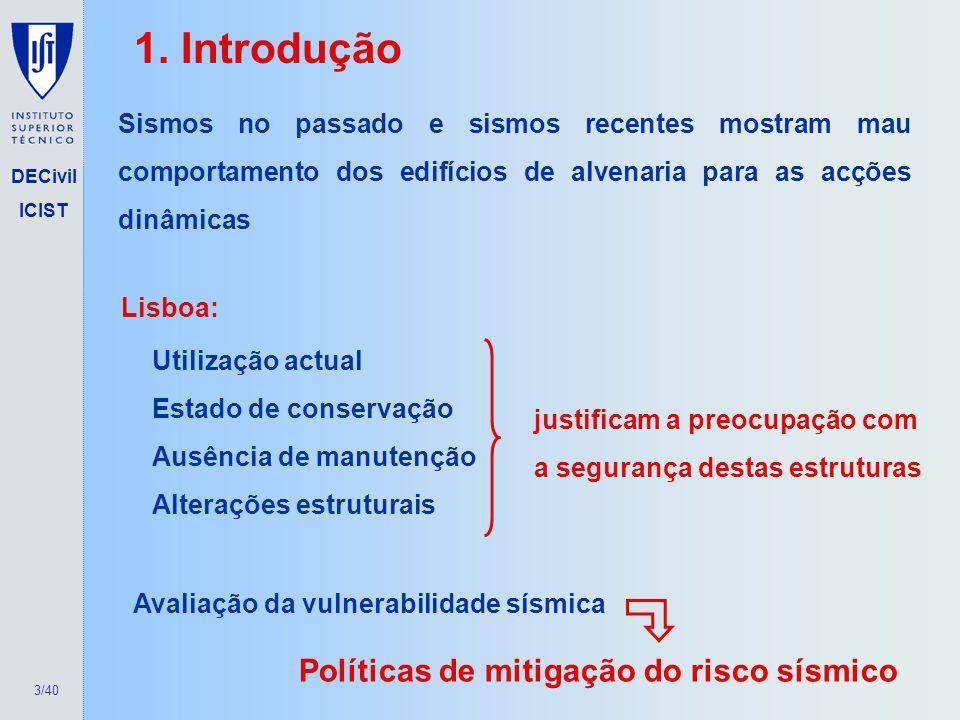 1. Introdução Políticas de mitigação do risco sísmico