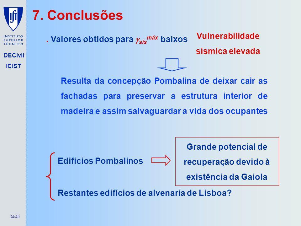 7. Conclusões Vulnerabilidade sísmica elevada
