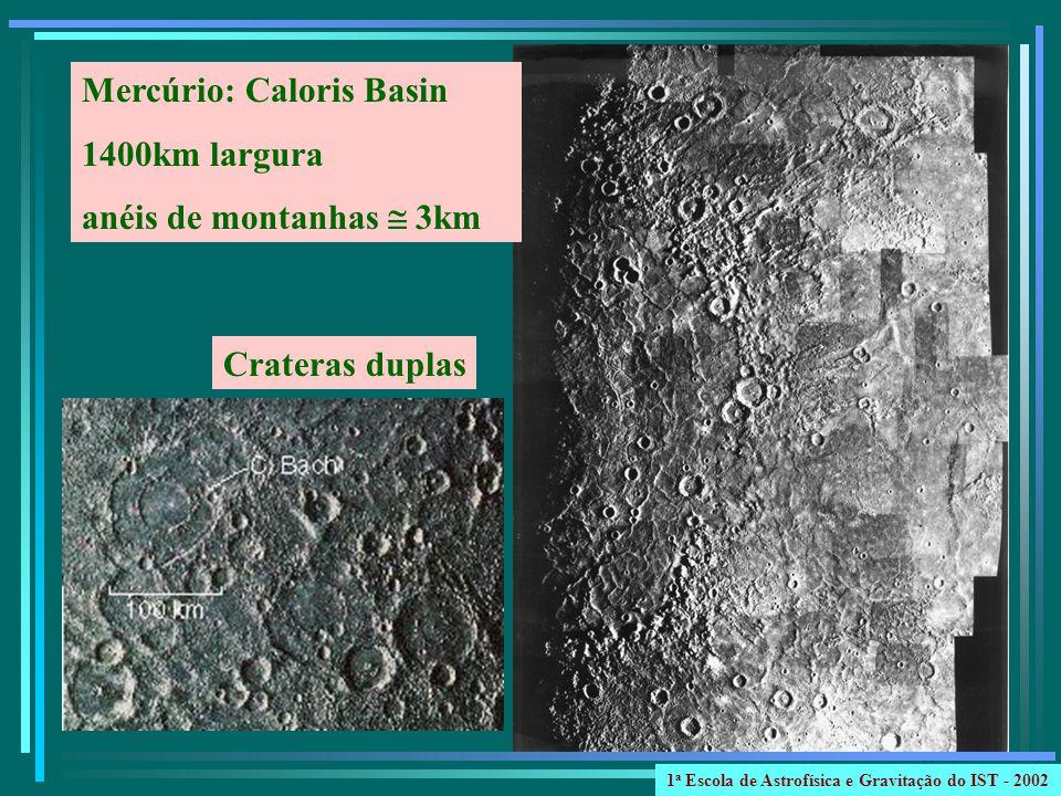 Mercúrio: Caloris Basin 1400km largura anéis de montanhas  3km