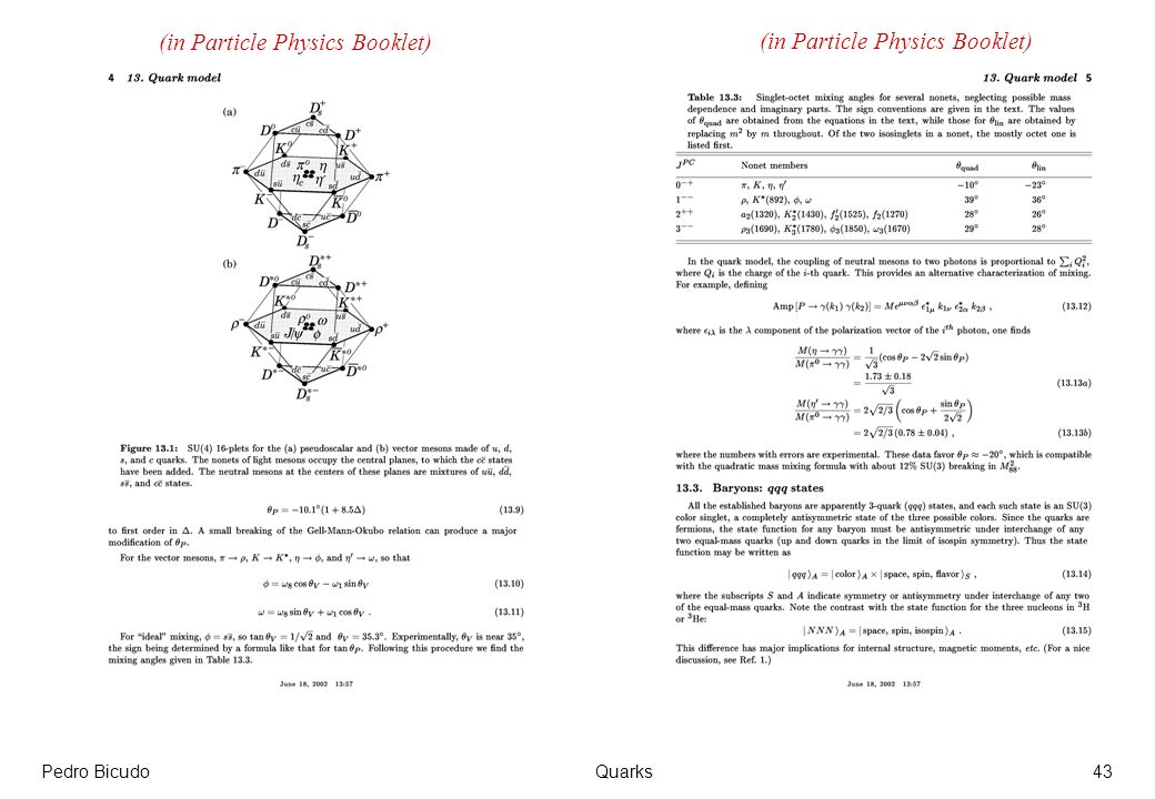 (in Particle Physics Booklet) (in Particle Physics Booklet)