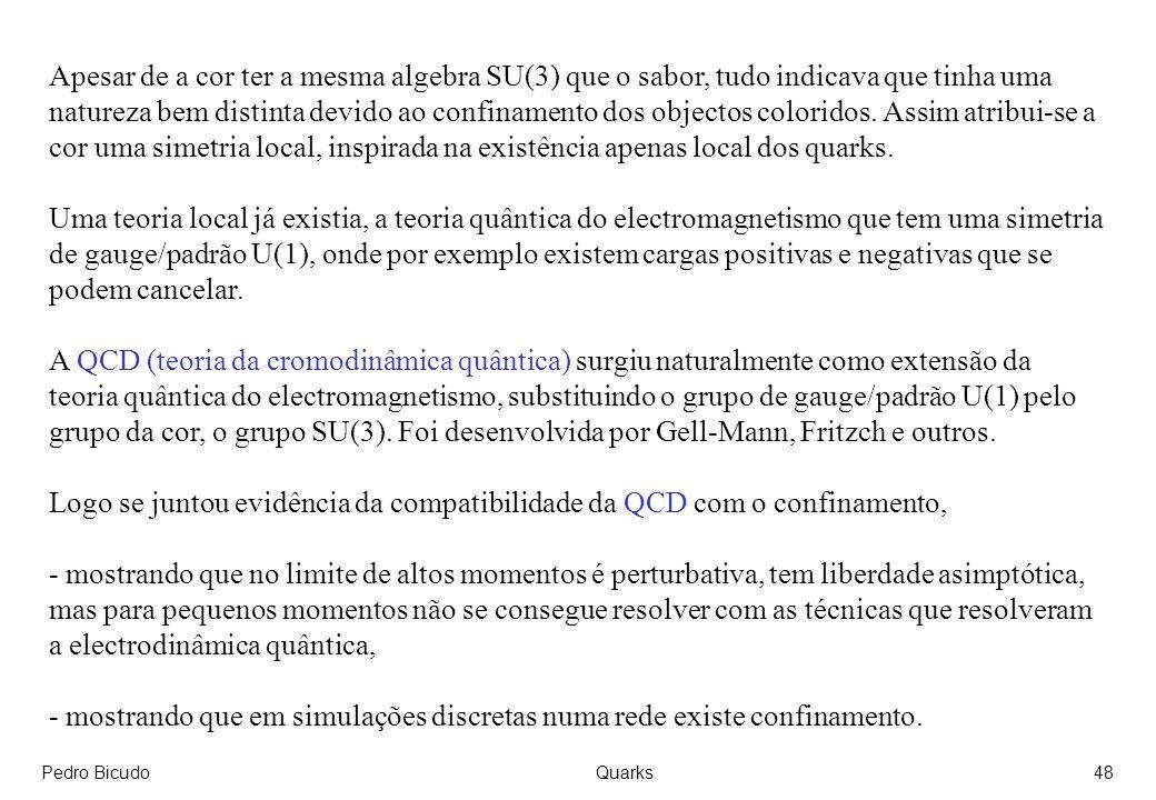 Logo se juntou evidência da compatibilidade da QCD com o confinamento,
