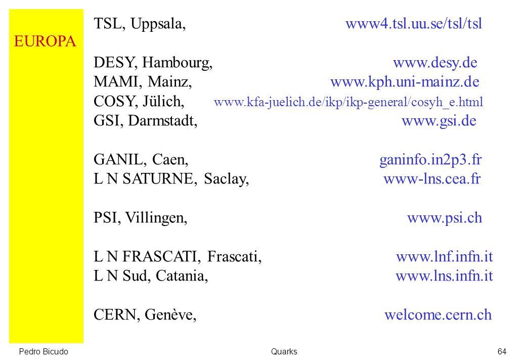 TSL, Uppsala, www4.tsl.uu.se/tsl/tsl DESY, Hambourg, www.desy.de