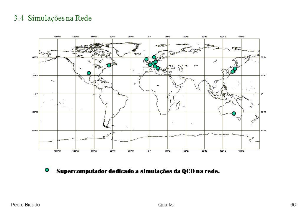 3.4 Simulações na Rede Supercomputador dedicado a simulações da QCD na rede. Pedro Bicudo Quarks