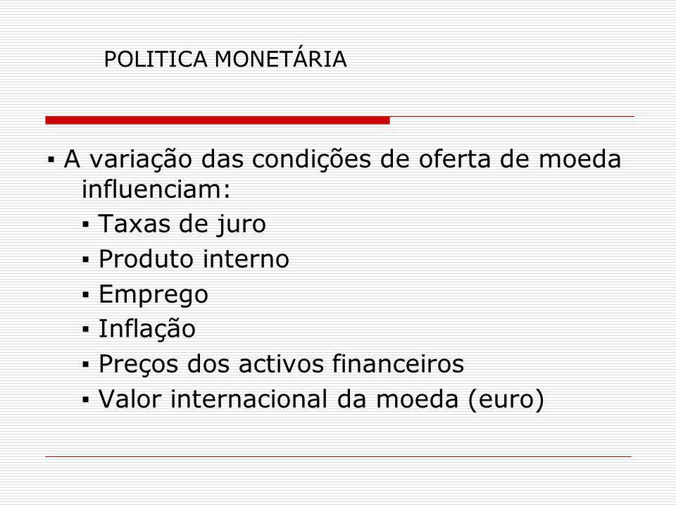 ▪ A variação das condições de oferta de moeda influenciam: