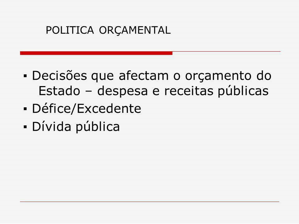 POLITICA ORÇAMENTAL ▪ Decisões que afectam o orçamento do Estado – despesa e receitas públicas. ▪ Défice/Excedente.