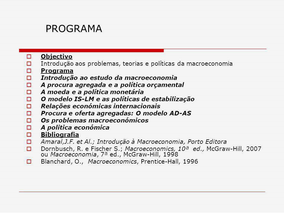 PROGRAMA Objectivo. Introdução aos problemas, teorias e políticas da macroeconomia. Programa. Introdução ao estudo da macroeconomia.