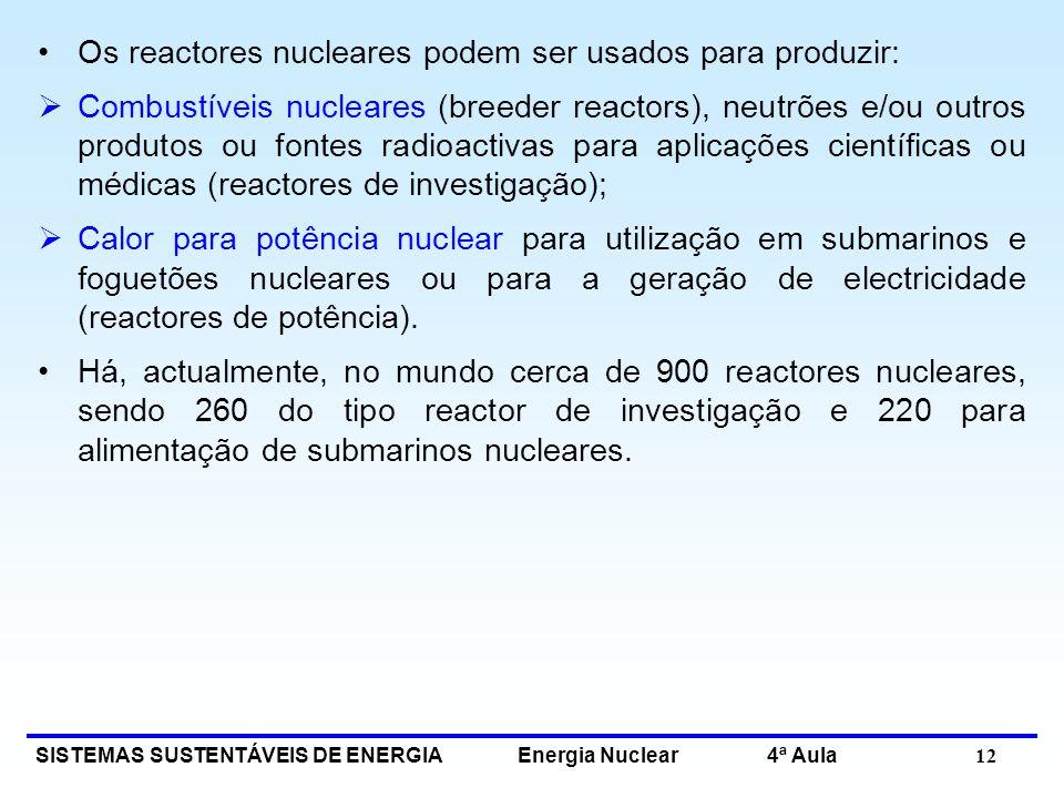 Os reactores nucleares podem ser usados para produzir: