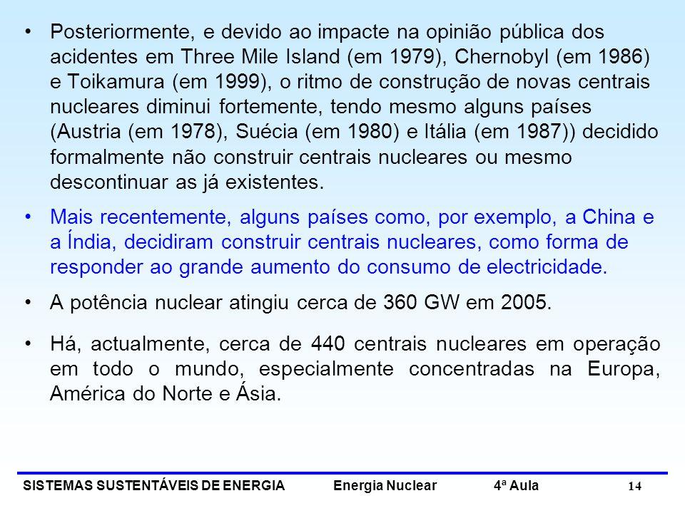 Posteriormente, e devido ao impacte na opinião pública dos acidentes em Three Mile Island (em 1979), Chernobyl (em 1986) e Toikamura (em 1999), o ritmo de construção de novas centrais nucleares diminui fortemente, tendo mesmo alguns países (Austria (em 1978), Suécia (em 1980) e Itália (em 1987)) decidido formalmente não construir centrais nucleares ou mesmo descontinuar as já existentes.