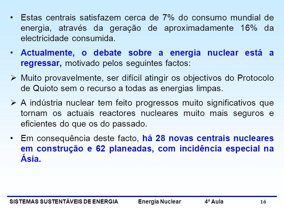 Estas centrais satisfazem cerca de 7% do consumo mundial de energia, através da geração de aproximadamente 16% da electricidade consumida.