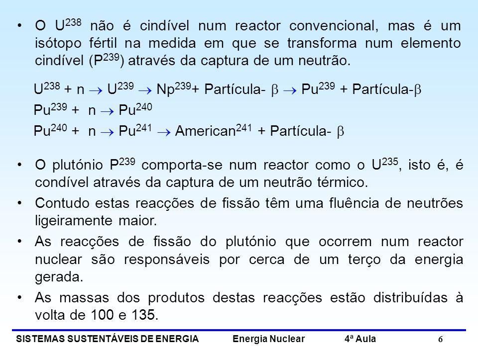 O U238 não é cindível num reactor convencional, mas é um isótopo fértil na medida em que se transforma num elemento cindível (P239) através da captura de um neutrão.