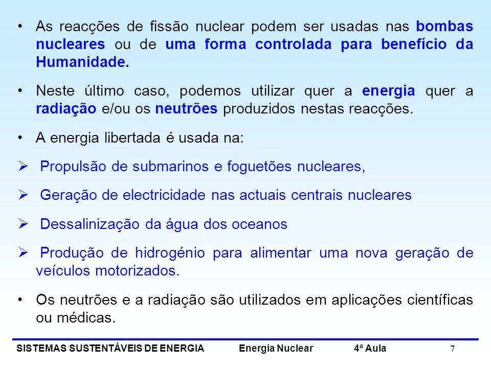 As reacções de fissão nuclear podem ser usadas nas bombas nucleares ou de uma forma controlada para benefício da Humanidade.