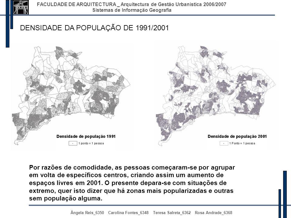 DENSIDADE DA POPULAÇÃO DE 1991/2001