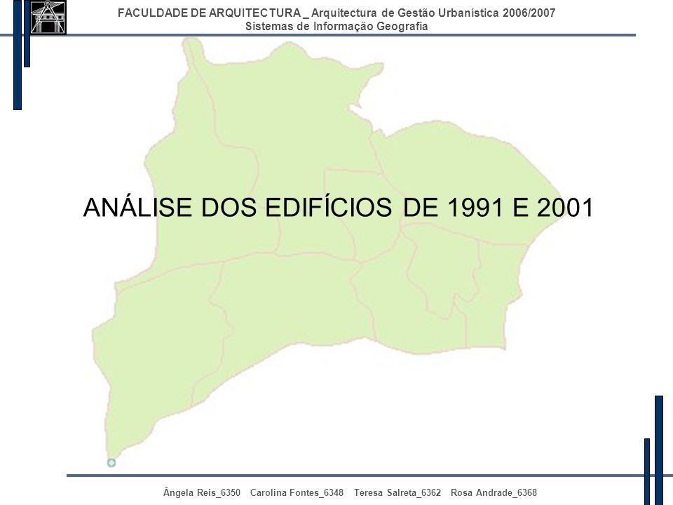 ANÁLISE DOS EDIFÍCIOS DE 1991 E 2001