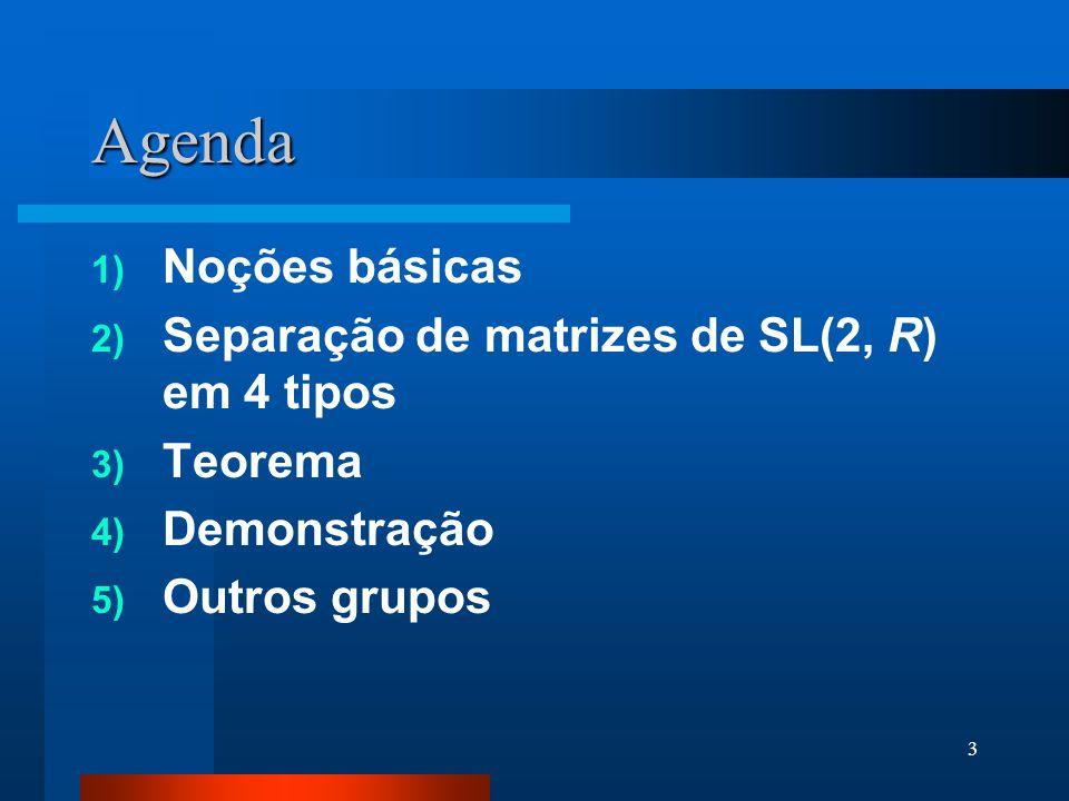 Agenda Noções básicas Separação de matrizes de SL(2, R) em 4 tipos