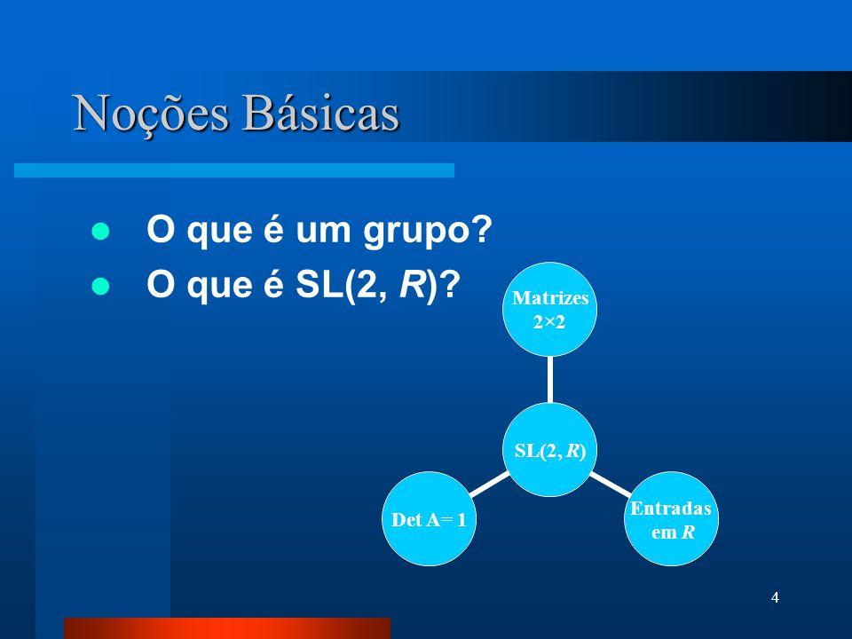 Noções Básicas O que é um grupo O que é SL(2, R)