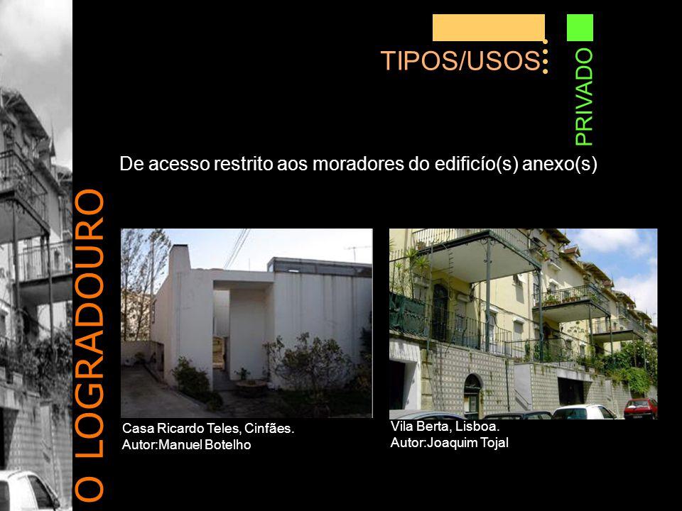 O LOGRADOURO TIPOS/USOS PRIVADO