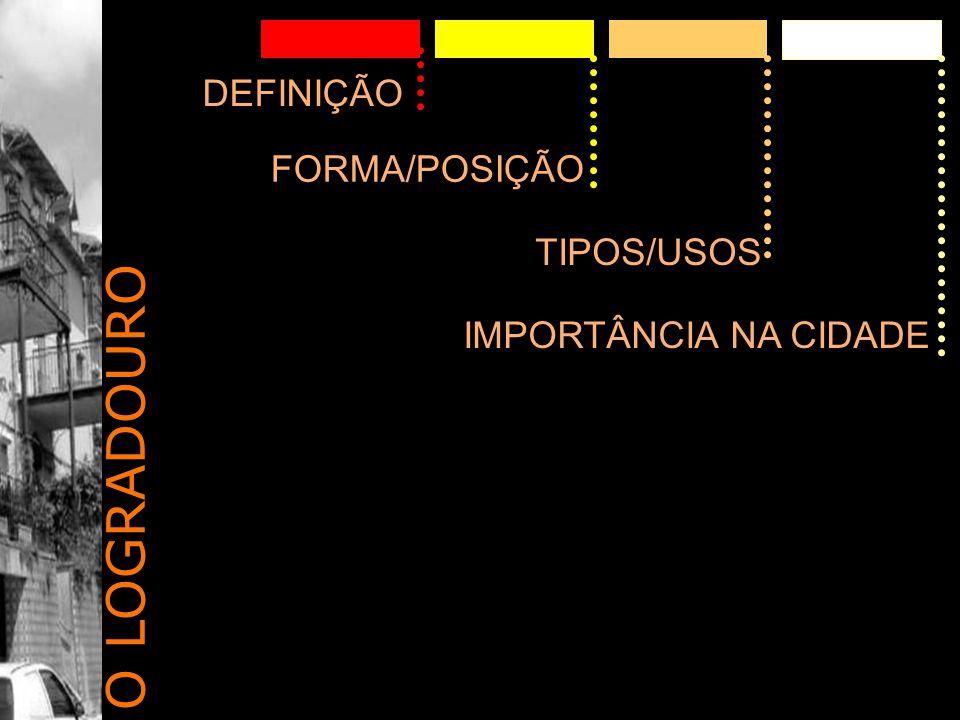 DEFINIÇÃO FORMA/POSIÇÃO TIPOS/USOS IMPORTÂNCIA NA CIDADE O LOGRADOURO
