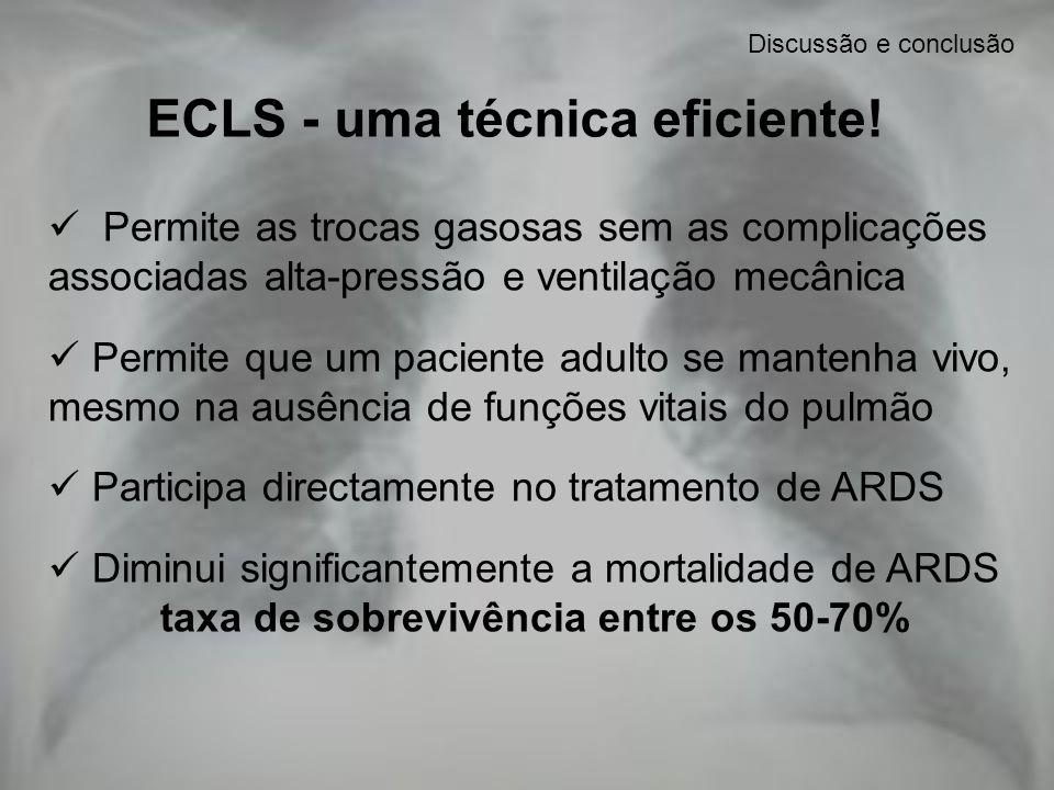 ECLS - uma técnica eficiente! taxa de sobrevivência entre os 50-70%