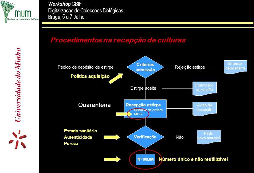 Procedimentos na recepção de culturas
