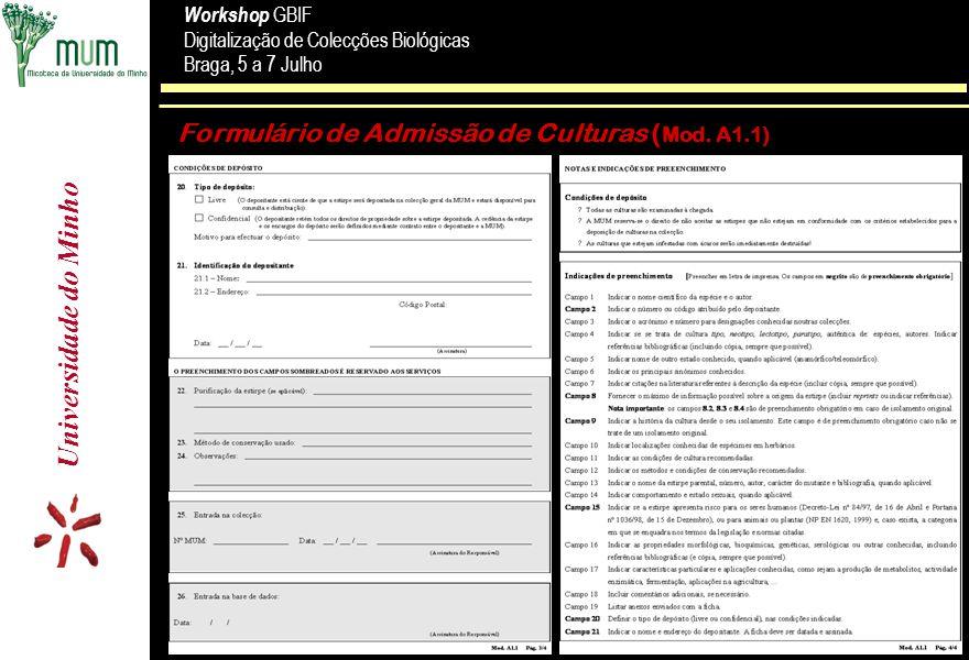 Formulário de Admissão de Culturas (Mod. A1.1)