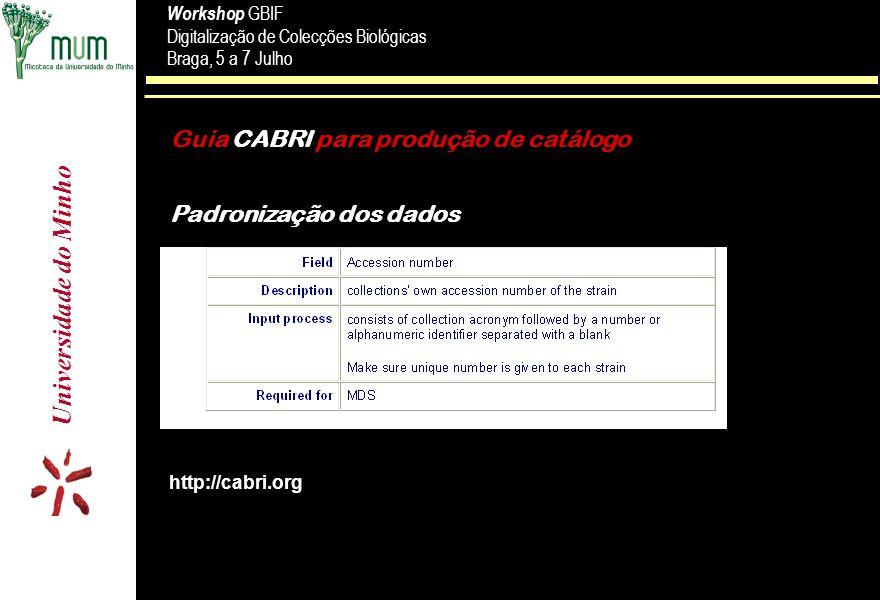 Guia CABRI para produção de catálogo