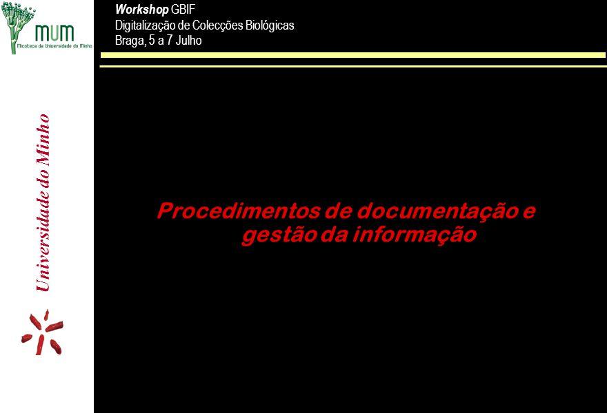 Procedimentos de documentação e gestão da informação