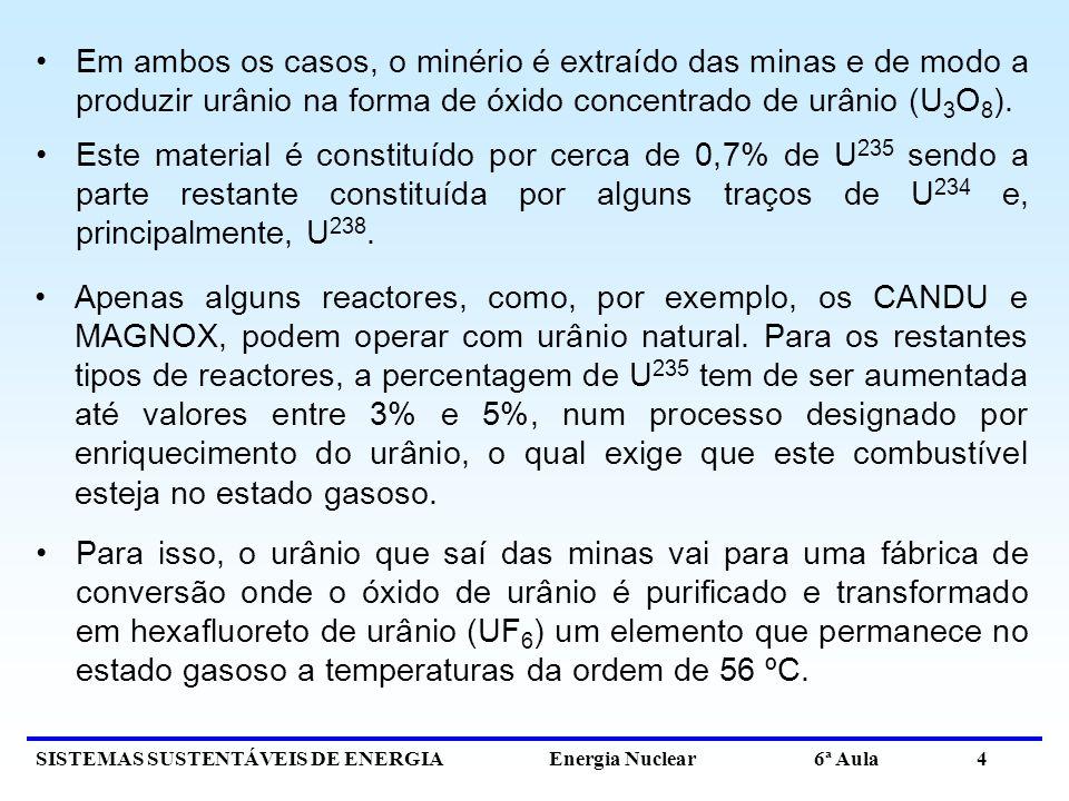 Em ambos os casos, o minério é extraído das minas e de modo a produzir urânio na forma de óxido concentrado de urânio (U3O8).