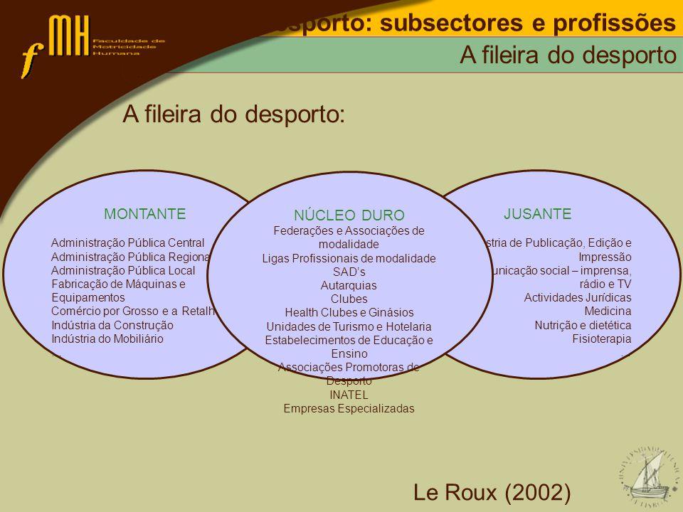 Desporto: subsectores e profissões A fileira do desporto