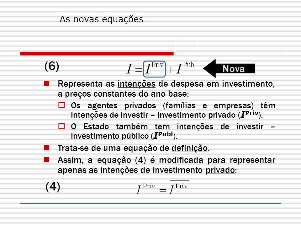 As novas equações (6) Nova. Representa as intenções de despesa em investimento, a preços constantes do ano base: