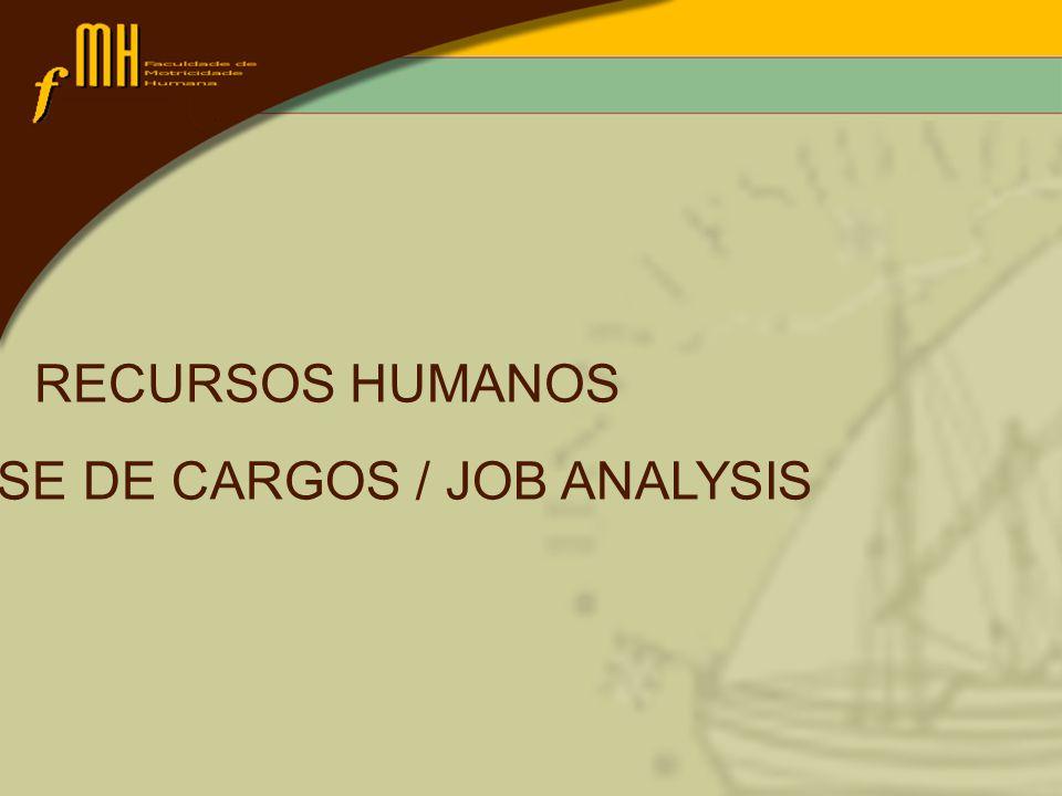 ANÁLISE DE CARGOS / JOB ANALYSIS