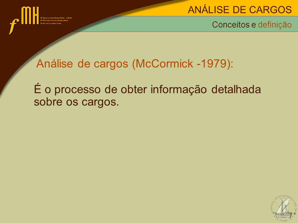 Análise de cargos (McCormick -1979):