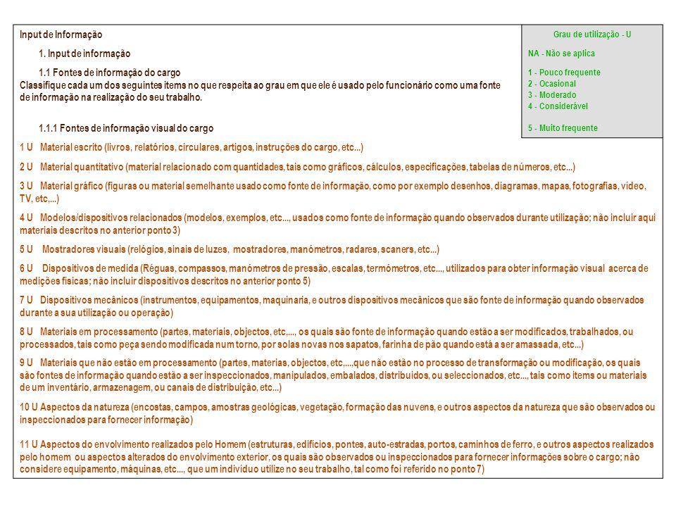 1.1 Fontes de informação do cargo
