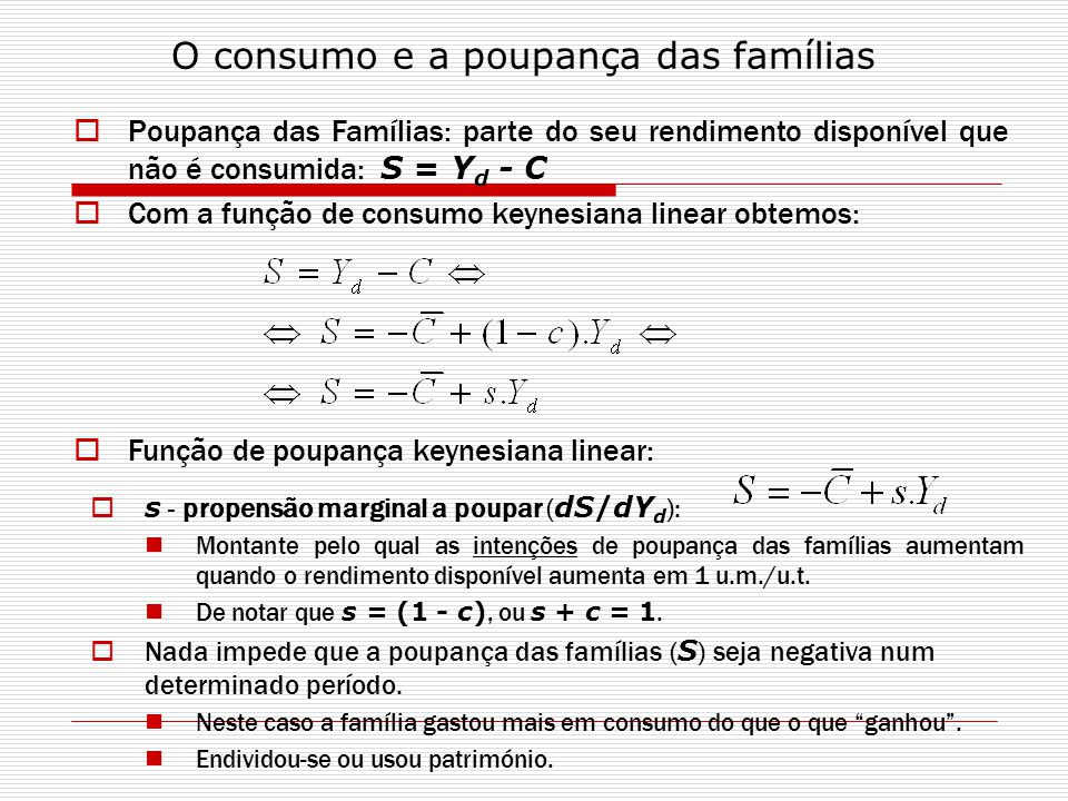 O consumo e a poupança das famílias