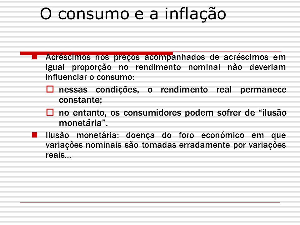 O consumo e a inflação Acréscimos nos preços acompanhados de acréscimos em igual proporção no rendimento nominal não deveriam influenciar o consumo: