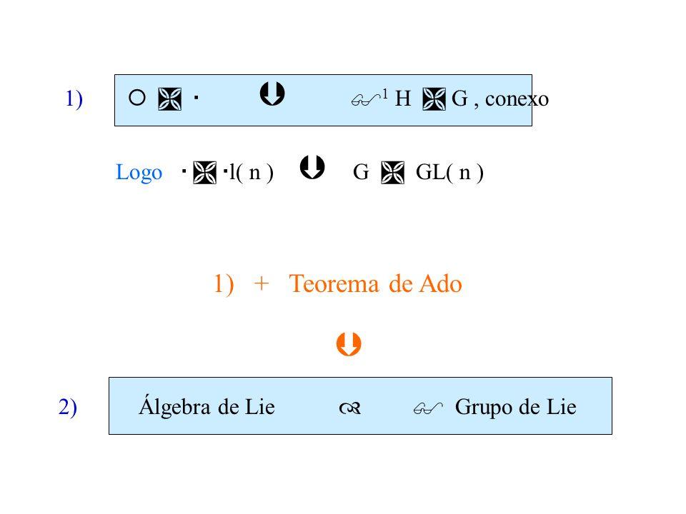  1) + Teorema de Ado     1 H  G , conexo