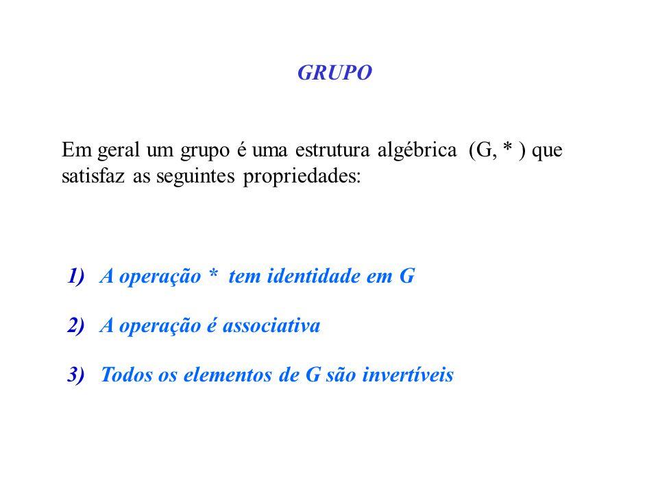GRUPO Em geral um grupo é uma estrutura algébrica (G, * ) que satisfaz as seguintes propriedades: A operação * tem identidade em G.