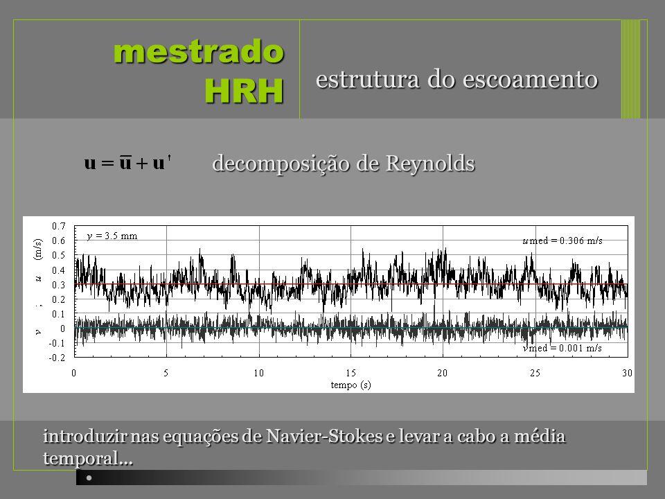 mestrado HRH estrutura do escoamento decomposição de Reynolds