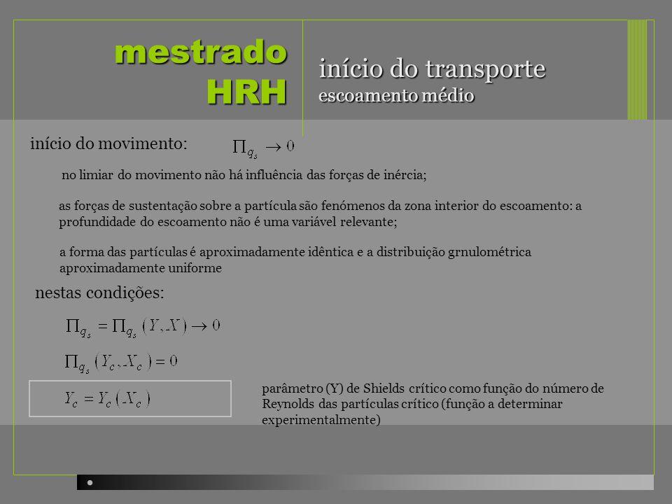 mestrado HRH início do transporte escoamento médio