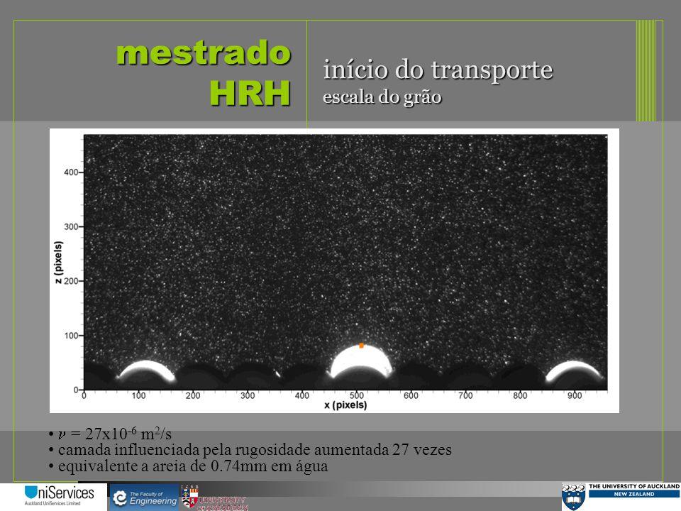 mestrado HRH início do transporte escala do grão n = 27x10-6 m2/s