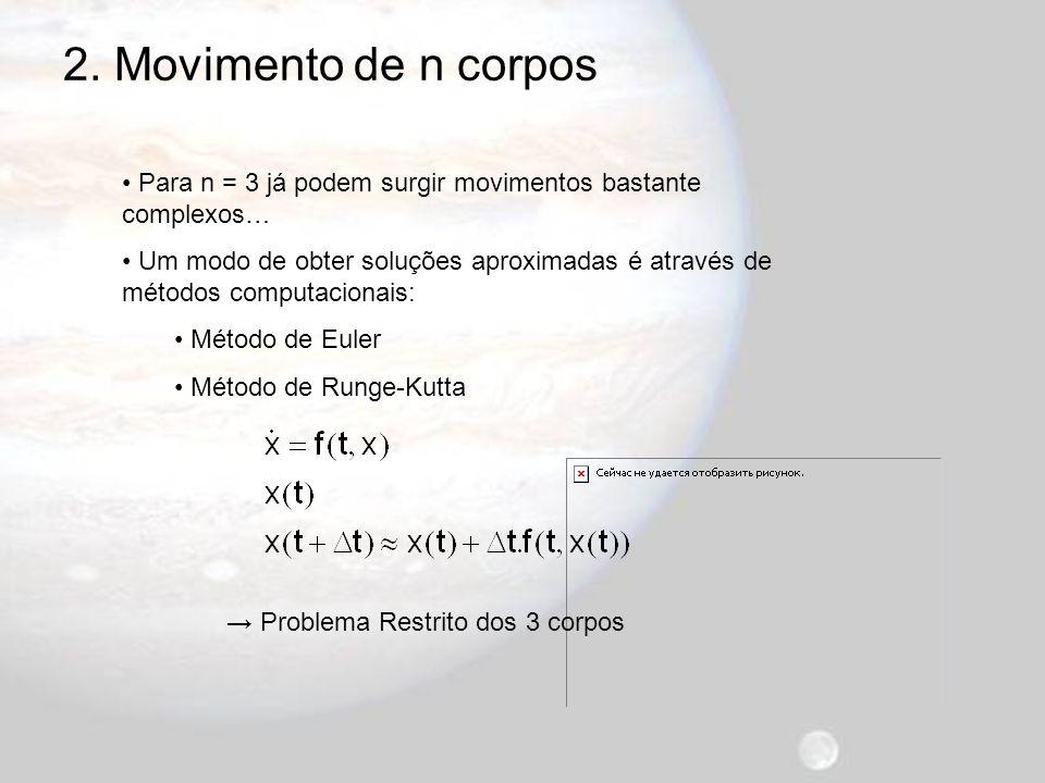 2. Movimento de n corpos Para n = 3 já podem surgir movimentos bastante complexos…