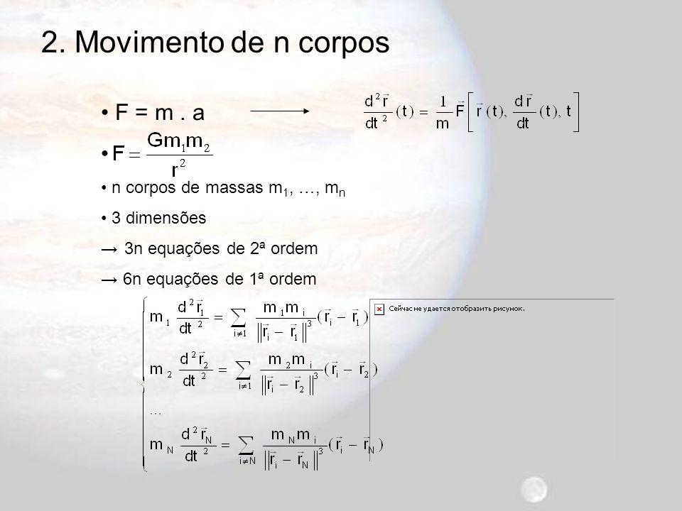 2. Movimento de n corpos F = m . a n corpos de massas m1, …, mn