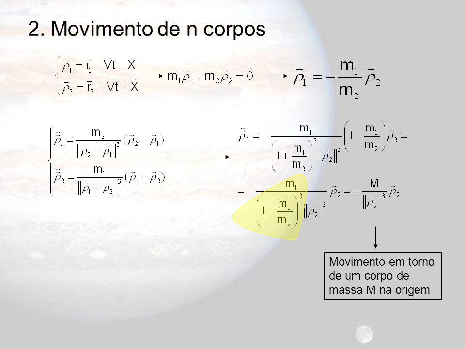 2. Movimento de n corpos Movimento em torno de um corpo de massa M na origem