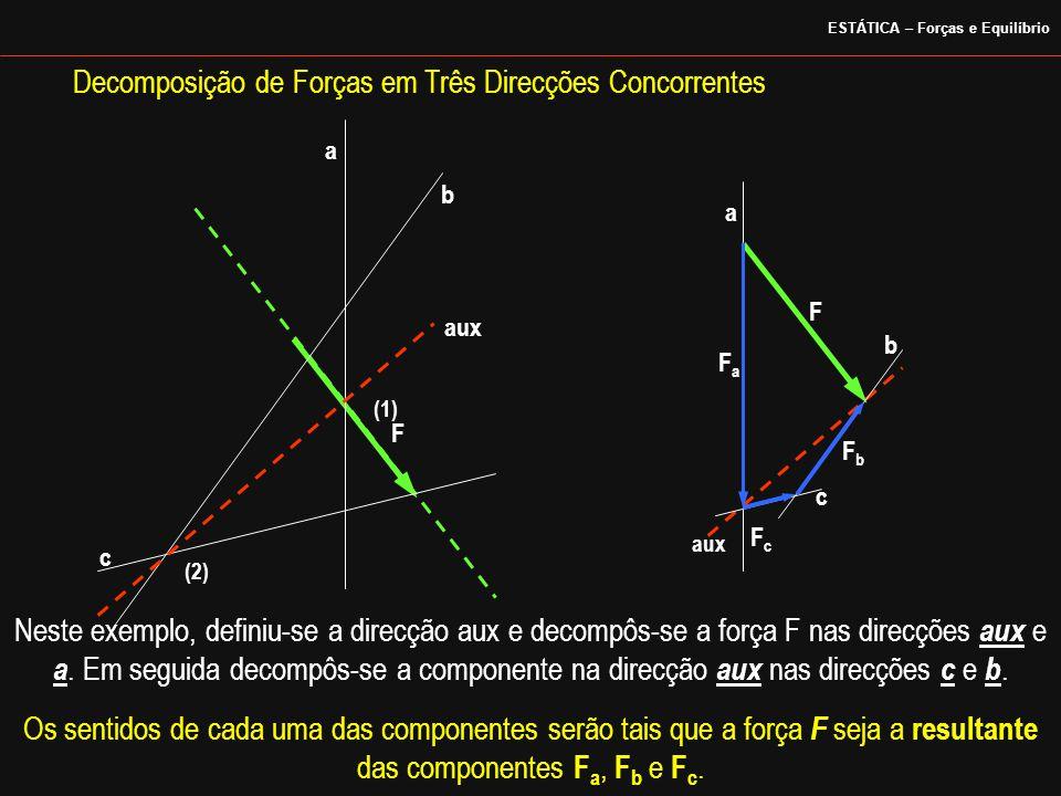 Decomposição de Forças em Três Direcções Concorrentes