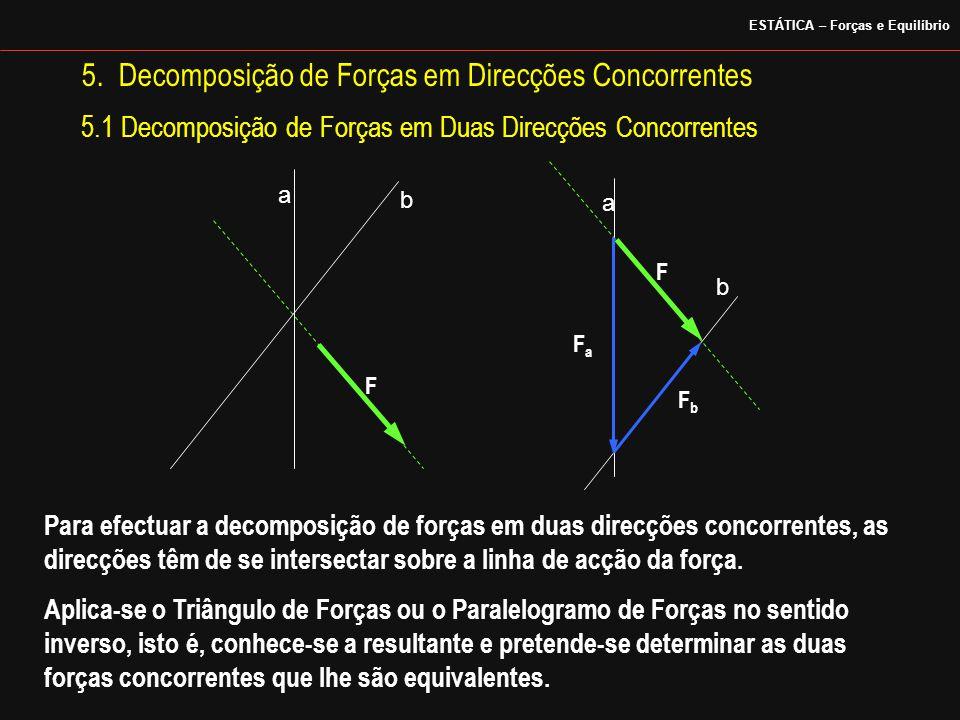 5. Decomposição de Forças em Direcções Concorrentes