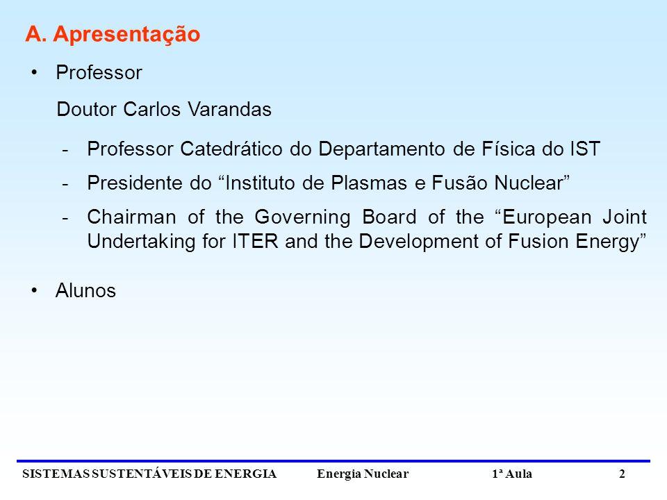 A. Apresentação Professor Doutor Carlos Varandas