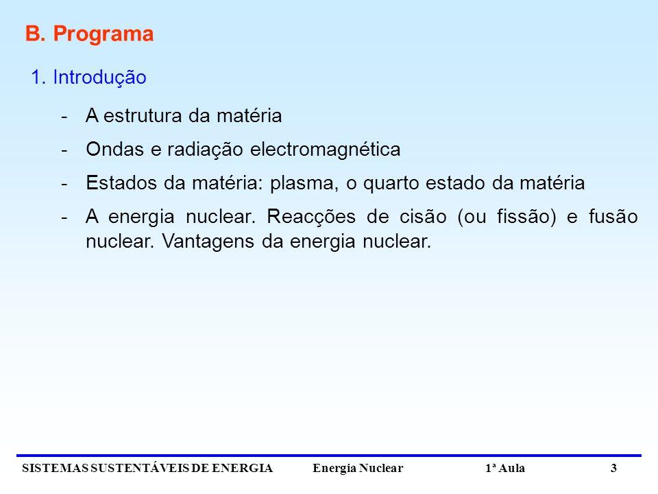B. Programa 1. Introdução A estrutura da matéria
